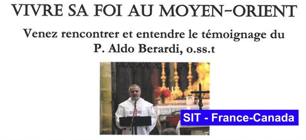 Venez recontrer et entendre la témoignage du P. Aldo Berardi, o.ss.t.